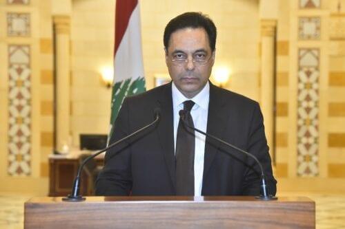 Lebanese Prime Minister Hassan Diab in Beirut, Lebanon on 10 August 2020 [Lebanese Presidency/Anadolu Agency]
