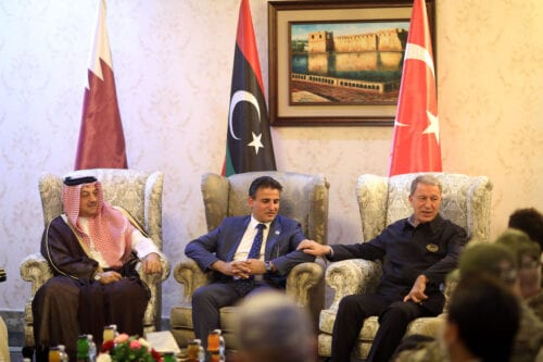 Turkish Defense Minister Hulusi Akar (R) meets with Qatari Defense Minister Khalid Bin Mohammed al-Attiyah (L) and Libyan Deputy Defense Minister Saladin en-Nemrush (C), in Tripoli, Libya on 17 August 2020. [Arif Akdoğan - Anadolu Agency]