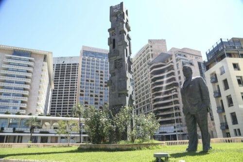 Statue of Former Prime Minister of Lebanon Rafic Hariri is seen in Beirut, Lebanon on 16 August 2020. [Enes Canlı - Anadolu Agency]