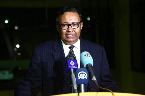 Sudanese Foreign Ministry spokesman Haidar Badawi al-Sadiq holds a news conference at ministry building in Khartoum, Sudan on August 18, 2020 [Mahmoud Hjaj/Anadolu Agency]