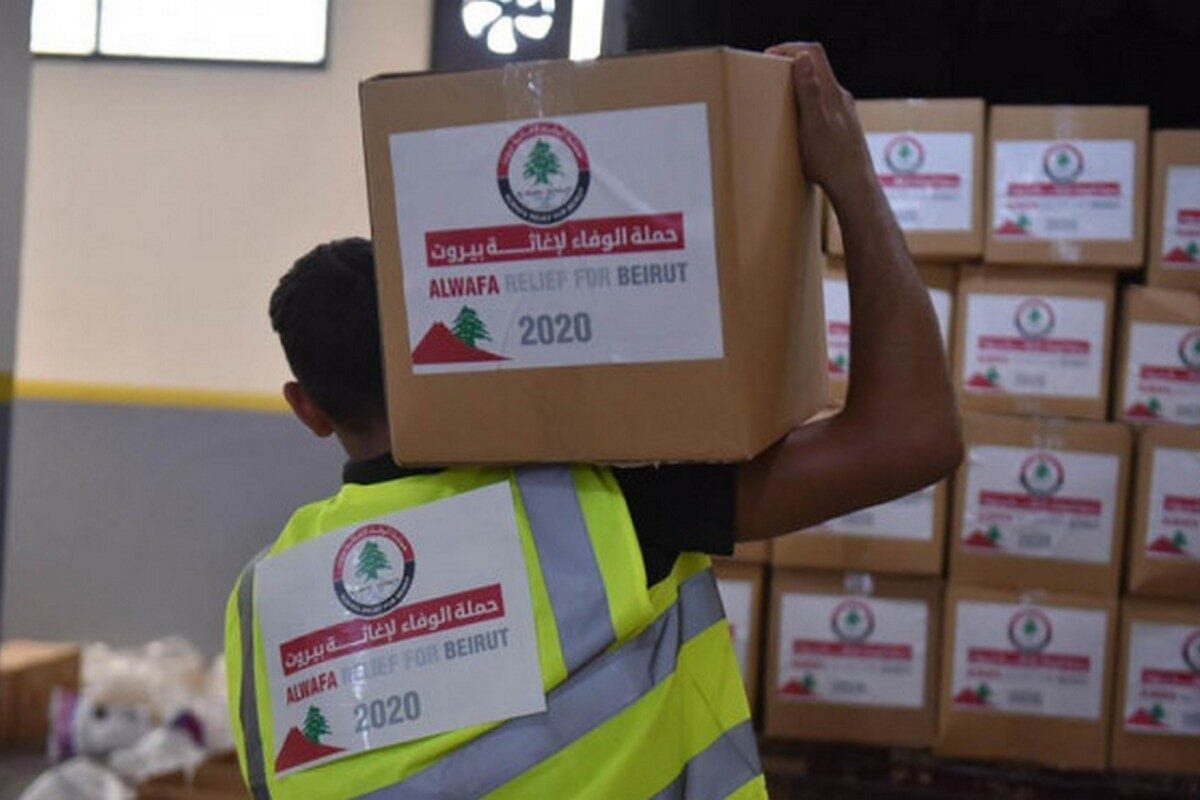 Aid from Alwafa Relief for Lebanon following a explosion at a port in Beirut that killed over 200 people, 13 August 2020 [alwatanvoice]