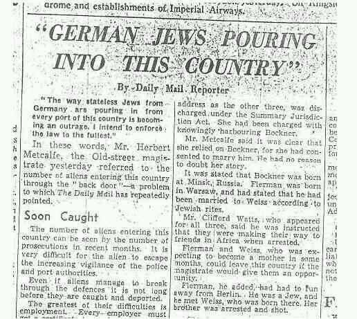 "Clipping from the British newspaper Daily Mail in 1938 on German Jews fleeing persecution ""pouring"" into the UK"