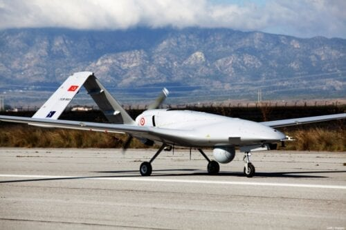 The Bayraktar TB2 drone is pictured on December 16, 2019 at Gecitkale Airport in Famagusta in the self-proclaimed Turkish Republic of Northern Cyprus (TRNC). [BIROL BEBEK/AFP via Getty Images]