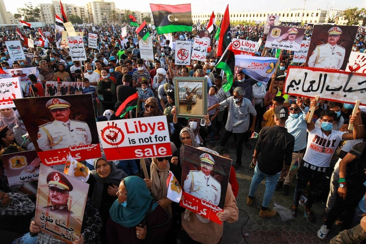 Supporters of Libyan military strongman Khalifa Haftar take part in a gathering in the eastern Libyan port city of Benghazi on July 5, 2020 [ABDULLAH DOMA/AFP via Getty Images]