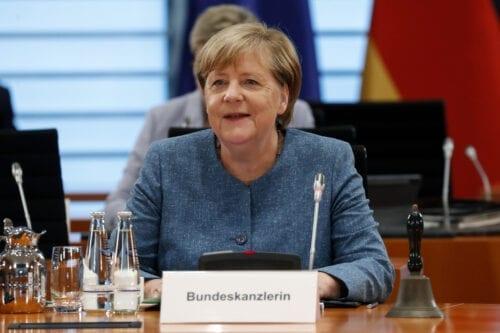 German Chancellor Angela Merkel smiles during a cabinet meeting at the German chancellery on August 12, 2020 in Berlin, Germany [Felipe Trueba/Pool/Getty Images]