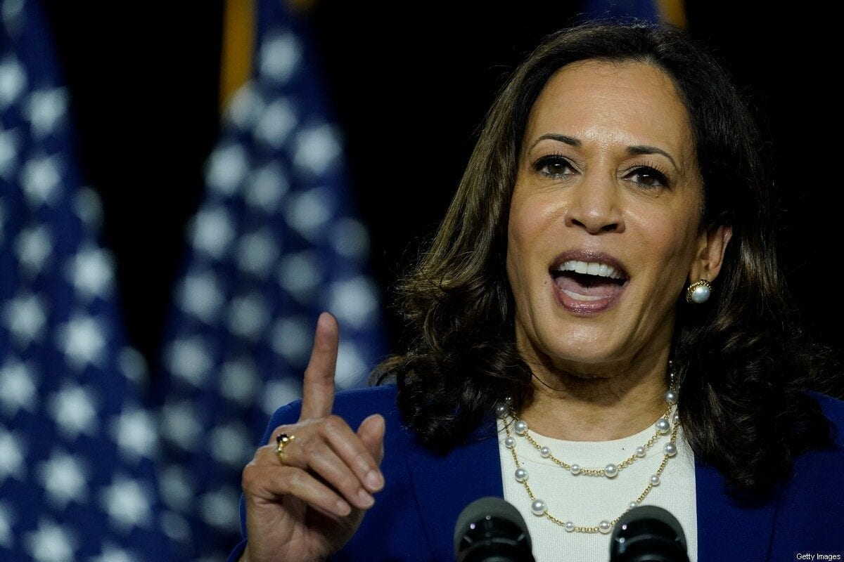 Kamala Harris, the Democratic Party candidate for vice president in Delaware, US on 12 August 2020 [Drew Angerer/Getty Images]