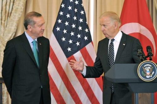 Former US Vice President Joe Biden (R) addresses Turkish Prime Minister Recep Tayyip Erdogan in Washington, DC on May 16, 2013 [LADEN ANTONOV/AFP via Getty Images]