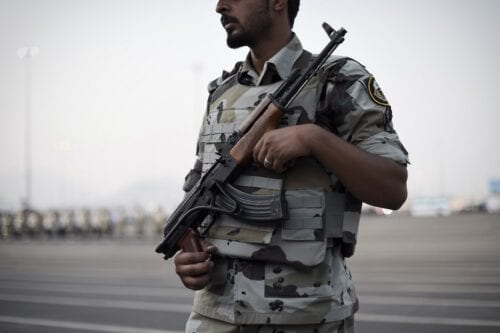 A Member of the Saudi special police unit stands guard during a military parade in Mecca on 17 September 2015 [MOHAMMED AL-SHAIKH/AFP via Getty Images]
