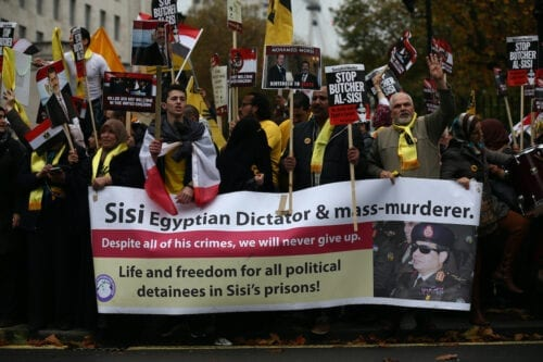 Demonstrators protest against Egypt's President Abdel Fattah el-Sisi ahead of his visit to meet Prime Minister David Cameron in Downing Street on 5 November 2015 in London, England. [Carl Court/Getty Images]