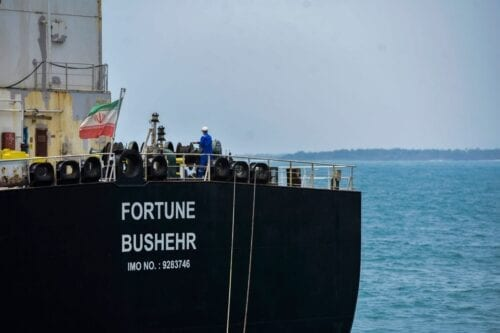 The Iranian-flagged oil tanker Fortune is docked at the El Palito refinery in Venezuela on 25 May 2020 [AFP/Getty Images]