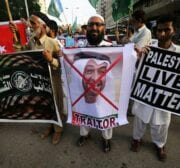 Pakistanis come together to protest against the normalisation deal signed between the UAE and Israel, 16 August 2020 [mustpakistan/Twitter]