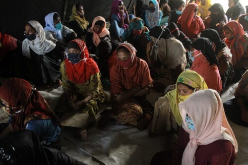 LHOKSEUMAWE, INDONESIA - SEPTEMBER 7: Rohingya refugee women are seen at the Work Training Center (BLK) in Lhokseumawe City, Aceh Province, on September 7, 2020. According to officials, as many as 297 Rohingya refugees consisting of 104 men, 178 women and14 children are stranded into Aceh waters on early Monday. ( Khalis Surry - Anadolu Agency )