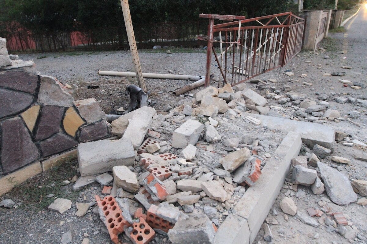 TARTAR - SEPTEMBER 28: A view of debris of a demolished wall is seen after allegedly it was being targeted by Armenian forces as the clashes between Armenian and Azerbaijan forces continue on September 28, 2020. ( Resul Rehimov - Anadolu Agency )