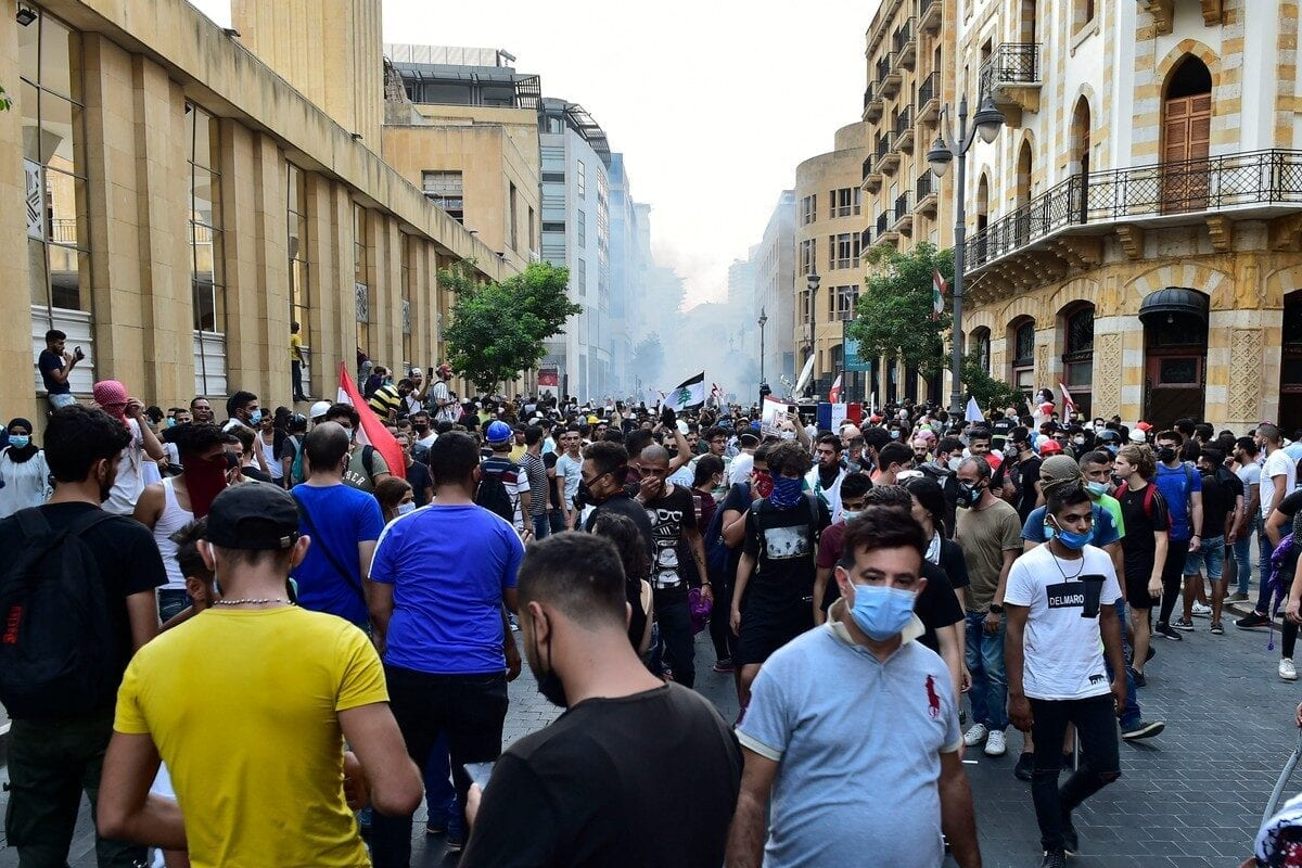 Security forces intervene in protesters with tear gas during a protest in Beirut, Lebanon on 1 September 2020 [Houssam Shbaro/Anadolu Agency]