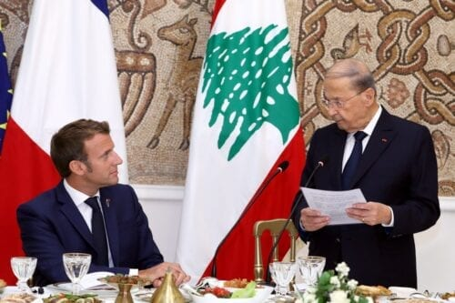 Lebanese President, Michel Aoun (R) hosts a dinner in honour of visiting French President Emmanuel Macron (L) at Baabda Presidential Palace in Beirut, Lebanon on 1 September 2020. [Lebanese Presidency / Handout - Anadolu Agency]