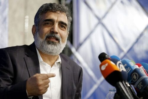 Spokesman of the Atomic Energy Organization of Iran (AEOI), Behrouz Kamalvandi answers the press in the capital Tehran on 17 July 2018. [ATTA KENARE/AFP via Getty Images]