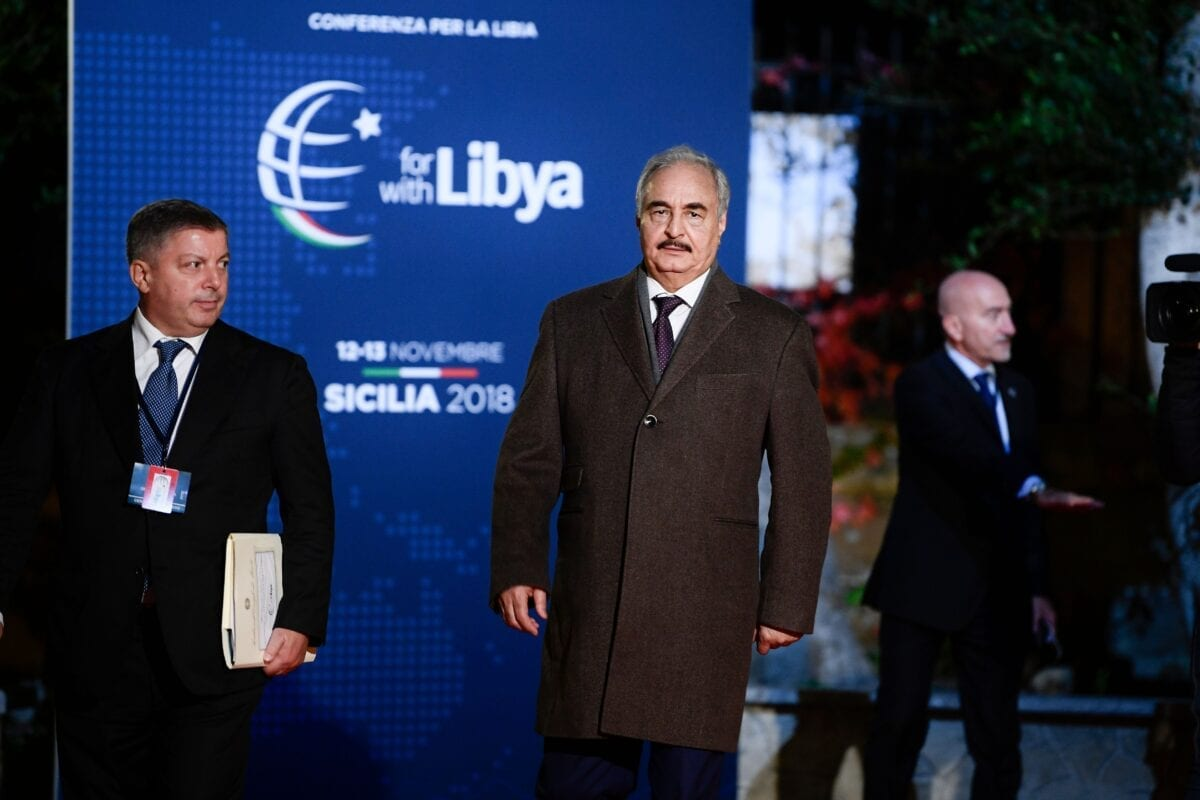 Self-proclaimed Libyan National Army (LNA) Chief of Staff, Khalifa Haftar arrives for a conference on Libya on November 12, 2018 at Villa Igiea in Palermo. - Libya's key political players meet with global leaders in Palermo on November 12 in the latest bid by major powers to kickstart a long-stalled political process and trigger elections. (Photo by Filippo MONTEFORTE / AFP) (Photo credit should read FILIPPO MONTEFORTE/AFP via Getty Images)