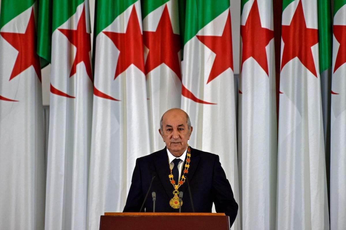 Algerian President Abdelmadjid Tebboune gives an address during the formal swearing-in ceremony in the capital Algiers on 19 December 2019. [RYAD KRAMDI/AFP via Getty Images]