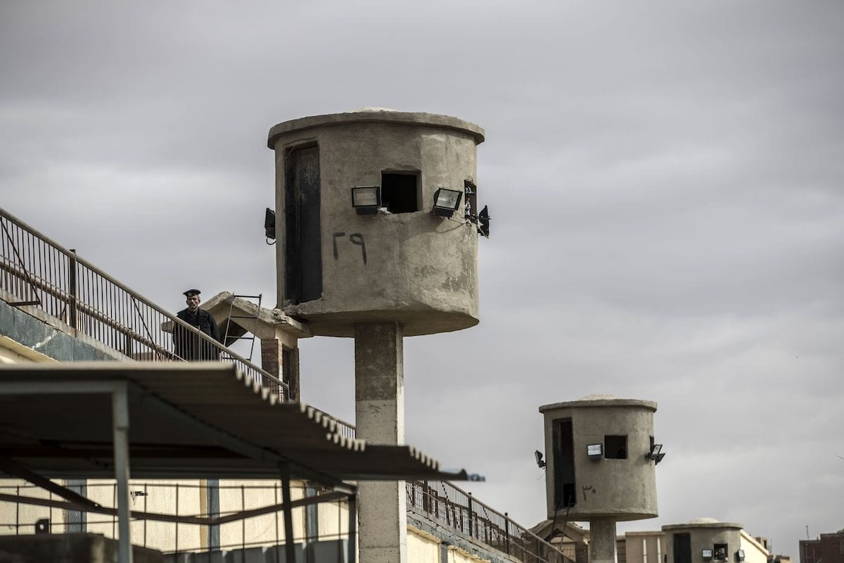 Watch towers at Tora prison in the Egyptian capital Cairo. [KHALED DESOUKI/AFP via Getty Images]