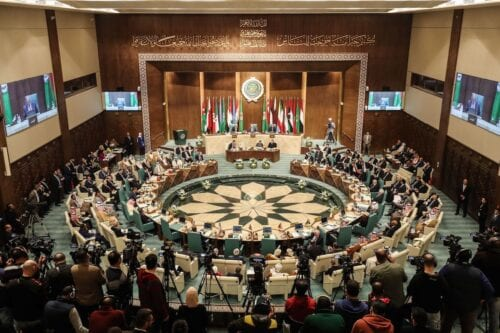 Arab Foreign Ministers take part in their 153rd annual session at the Arab League headquarters in the Egyptian capital Cairo, on 4 March 2020. [MOHAMED EL-SHAHED/AFP via Getty Images]