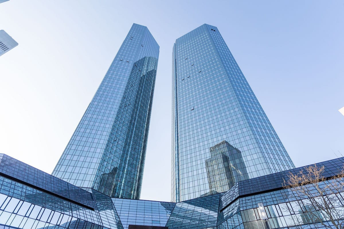 Exterior view of the headquarters of Deutsche Bank AG on March 27, 2020 in Frankfurt am Main, Germany. [Mario Hommes/DeFodi Images via Getty Images]