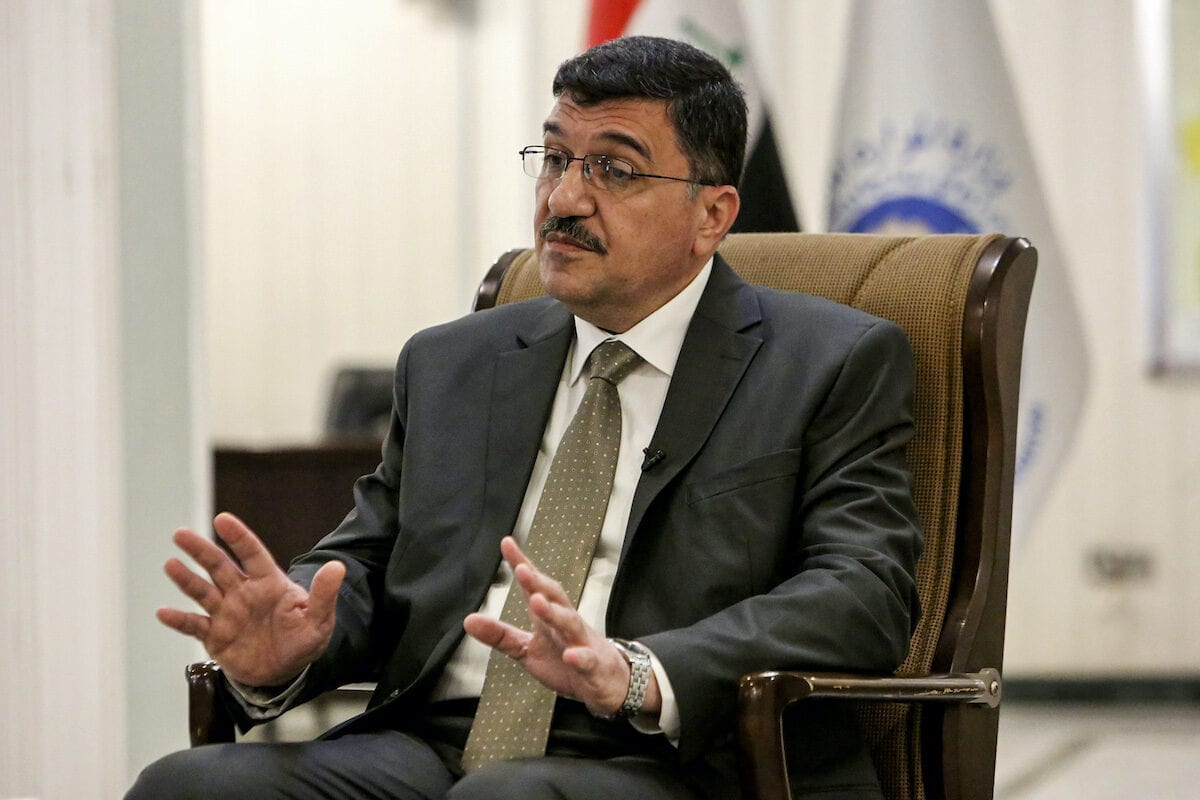 Mehdi Rashid al-Hamdani, Iraq's Minister of Water Resources, speaks during an interview with AFP at his office in the capital Baghdad on 19 August 2020. [SABAH ARAR/AFP via Getty Images]