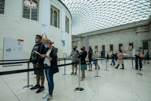Visitors wearing face masks arrive at the British Museum on August 27, 2020 in London, England [Chris J Ratcliffe/Getty Images]