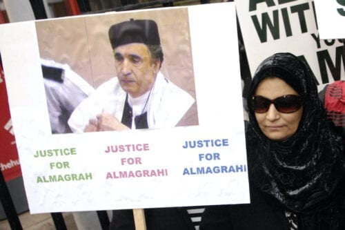 Aisha Al Megrahi, wife of convicted Lockerbie bomber Libyan Abdelbaset Ali Mohmet al-Megrahi joins a silent march to the Scottish Parliament to highlight alleged miscarriages of justice, in Edinburgh, on 4 December 2008. [ANDY BUCHANAN/AFP via Getty Images]