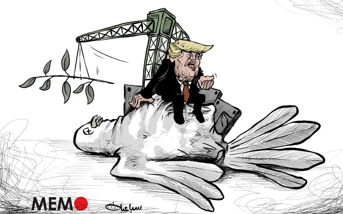 """US President Donald Trump has hailed the """"dawn of a new Middle East"""" and killed the peace process - Cartoon [Sabaaneh/MiddleEastMonitor]"""