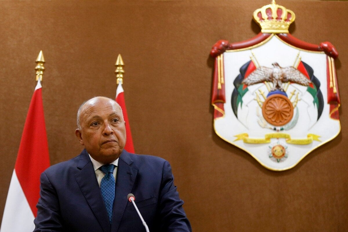 Egypt's Foreign Minister Sameh Shoukry in Amman, Jordan on 19 July 2020 [MUHAMMAD HAMED/POOL/AFP/Getty Images]
