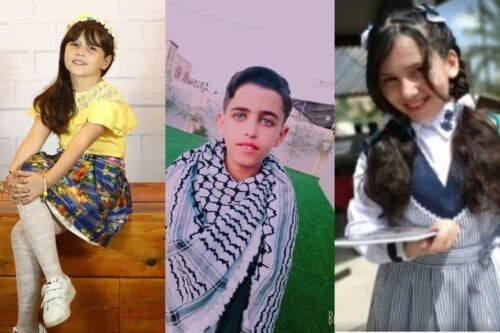 Palestinian children from Gaza (L-R) Malak Judah, Musa Abu Jazar, Razan Zidan
