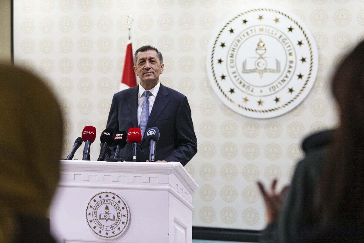 Turkish National Education Minister Ziya Selcuk makes a speech on entering 2nd stage of in-person education as he holds a press conference at the Turkish National Education Ministry Building in Ankara, Turkey on 6 October 2020. [Fatih Kurt - Anadolu Agency]