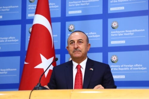 Minister of Foreign Affairs of Turkey, Mevlut Cavusoglu in Baku, Azerbaijan on October 06, 2020 [Resul Rehimov/Anadolu Agency]