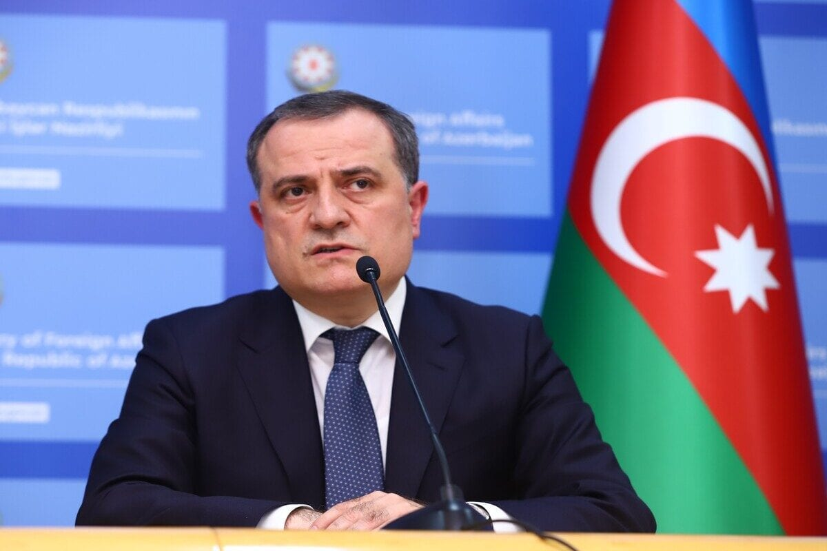 BAKU, AZERBAIJAN - OCTOBER 06: Minister of Foreign Affairs of Azerbaijan, Jeyhun Bayramov makes a speech during a press conference with Minister of Foreign Affairs of Turkey, Mevlut Cavusoglu (not seen) following their bilateral meeting in Baku, Azerbaijan on October 06, 2020. ( Resul Rehimov - Anadolu Agency )