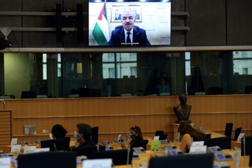 Palestinian Prime Minister Mohammad Shtayyeh makes a speech via video conference at the European Parliament Committee meeting on Foreign Affairs, on 12 October 2020 in Brussels, Belgium. [Dursun Aydemir - Anadolu Agency]