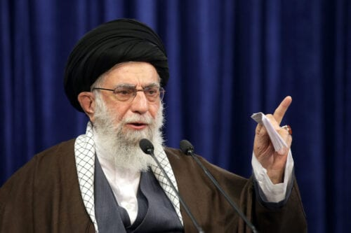 Iranian Supreme Leader Ali Khamenei in Tehran, Iran on October 12, 2020 [Iranian Supreme Leader Press Office/Anadolu Agency]
