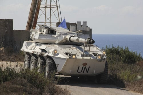 A vehicle of the UN peacekeeping force UNIFIL is seen as it stands guard upon arrival of Lebanese and Israeli committee, in the southernmost area of Naqoura, by the border with Israel, Naqoura, Lebanon on October 14, 2020 [Ali Abdo / Anadolu Agency]
