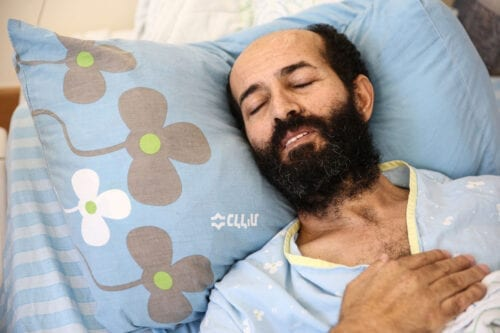 Palestinian prisoner Maher Al-Akhras, is in a hunger strike receives medical treatment on 14 October 2020 [Mostafa Alkharouf/Anadolu Agency]