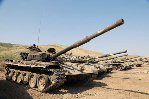 A view of Armenian military vehicles captured by Azerbaijani army on 21 October 2020 [Azerbaijani Defence Ministry/Anadolu Agency]