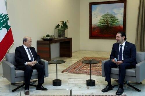 Lebanese President, Michel Aoun (L) meets Former Prime Minister of Lebanon, Saad Hariri (R) in Beirut, Lebanon on October 22, 2020 [Lebanese Presidency/Anadolu Agency]