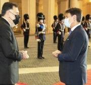 Italian Prime Minister Giuseppe Conte (R) welcomes his Libyan counterpart Fayez al-Sarraj (L) at the Chigi Palace in Rome, Italy on October 22, 2020 [ITA Prime Ministry/Filippo Attili - Anadolu Agency]
