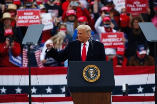 US President Donald J. Trump hosts a campaign rally at the Lancaster Airport in Lititz, Pennsylvania on 26 October 2020. [Tayfun Coşkun - Anadolu Agency]