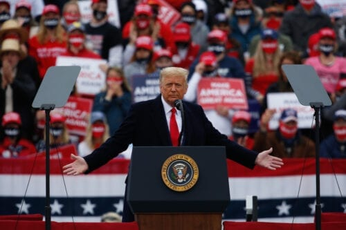 U.S. President Donald J. Trump hosts a campaign rally at the Lancaster Airport in Lititz, Pennsylvania on October 26, 2020 [Tayfun Coşkun - Anadolu Agency]