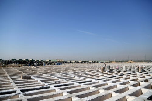 A view of the newly constructed graveyards at the at the Behesht-e Zahra, the largest cemetery in Iran, on October 30, 2020 in Tehran, Iran [Fatemeh Bahrami -/ Anadolu Agency]