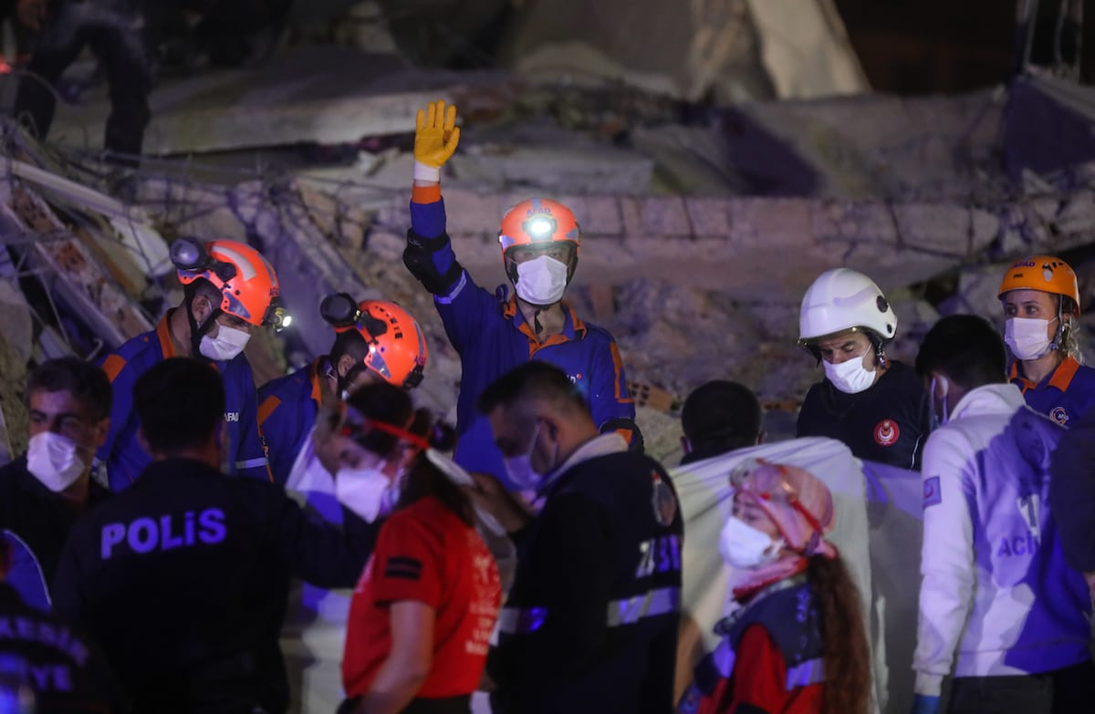 Search and rescue works continue to be carried out at debris of buildings located in Bornova after a magnitude 6.6 quake shook Turkey's Aegean Sea coast, in Izmir, Turkey on October 30, 2020 [Mahmut Serdar Alakuş - Anadolu Agency]