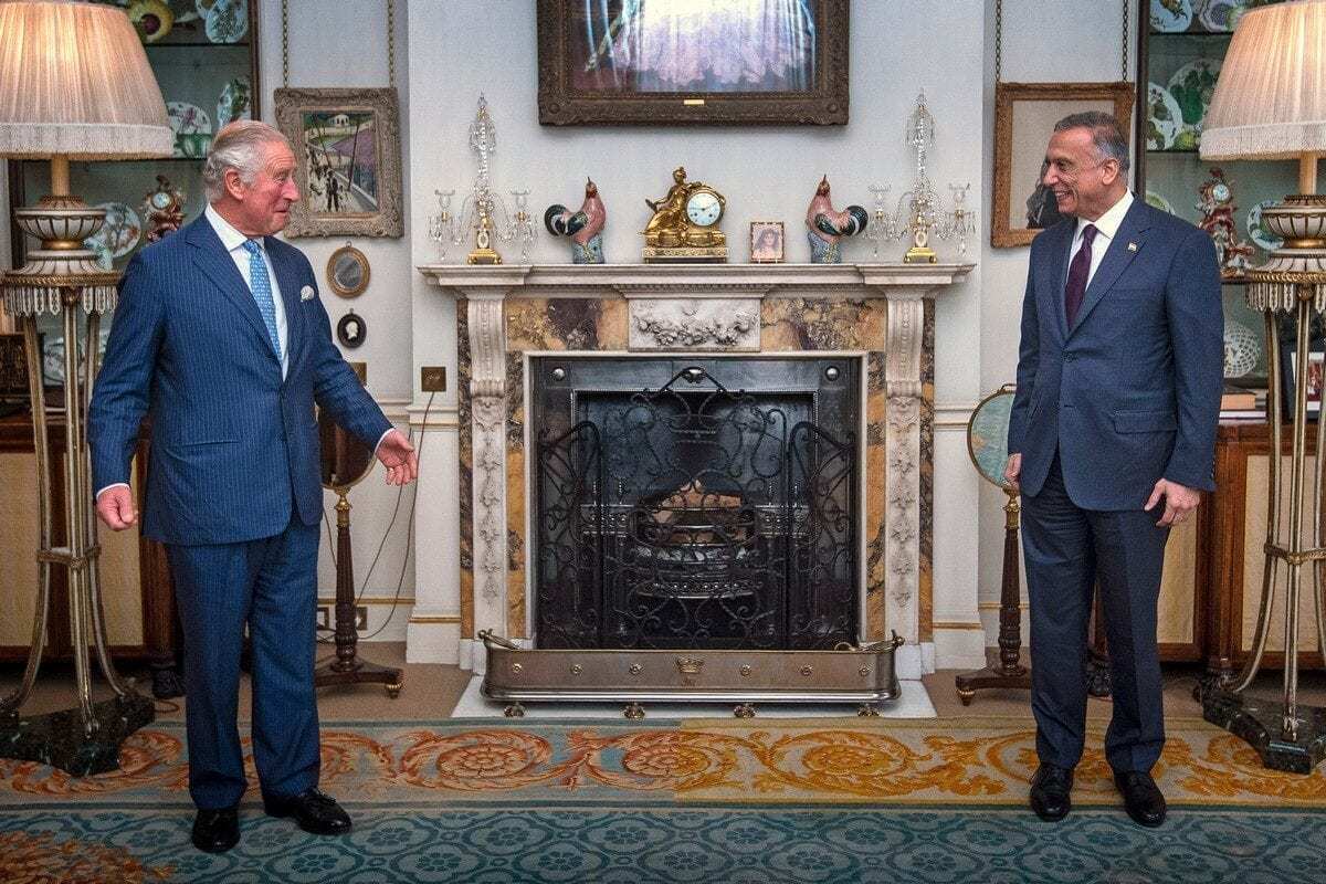 Prince Charles, Prince of Wales (L) meets with Iraqi Prime Minister Mustafa Al-Kadhimi in London, UK on October 22, 2020 [Victoria Jones/WPA Pool/Getty Images]