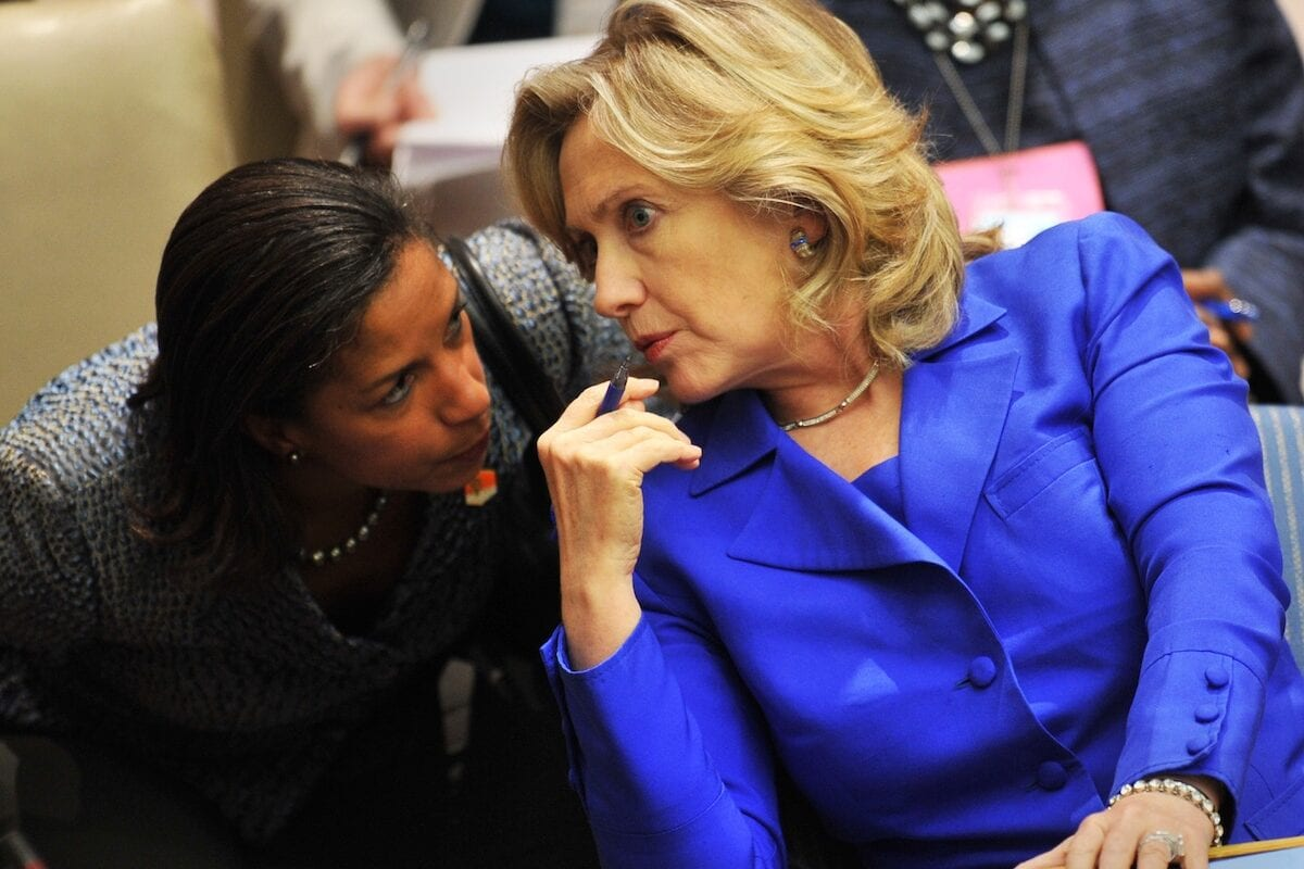 US Secretary of State Hillary Rodham Clinton (R) talks with Susan Rice (L), the US Ambassador to the United Nations in a Security Council meeting during the United Nations General Assembly on 23 September 2010 at UN headquarters in New York. [STAN HONDA/AFP via Getty Images]