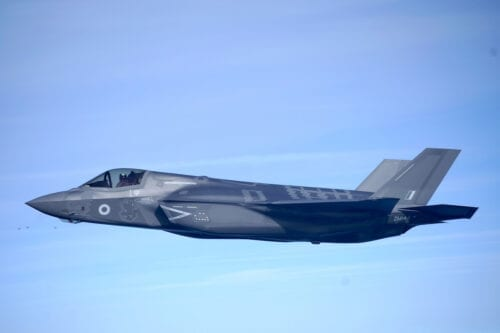 An F35-B Lightning stealth jets on February 19, 2019 in Oxford, England. [Christopher Furlong/Getty Images]