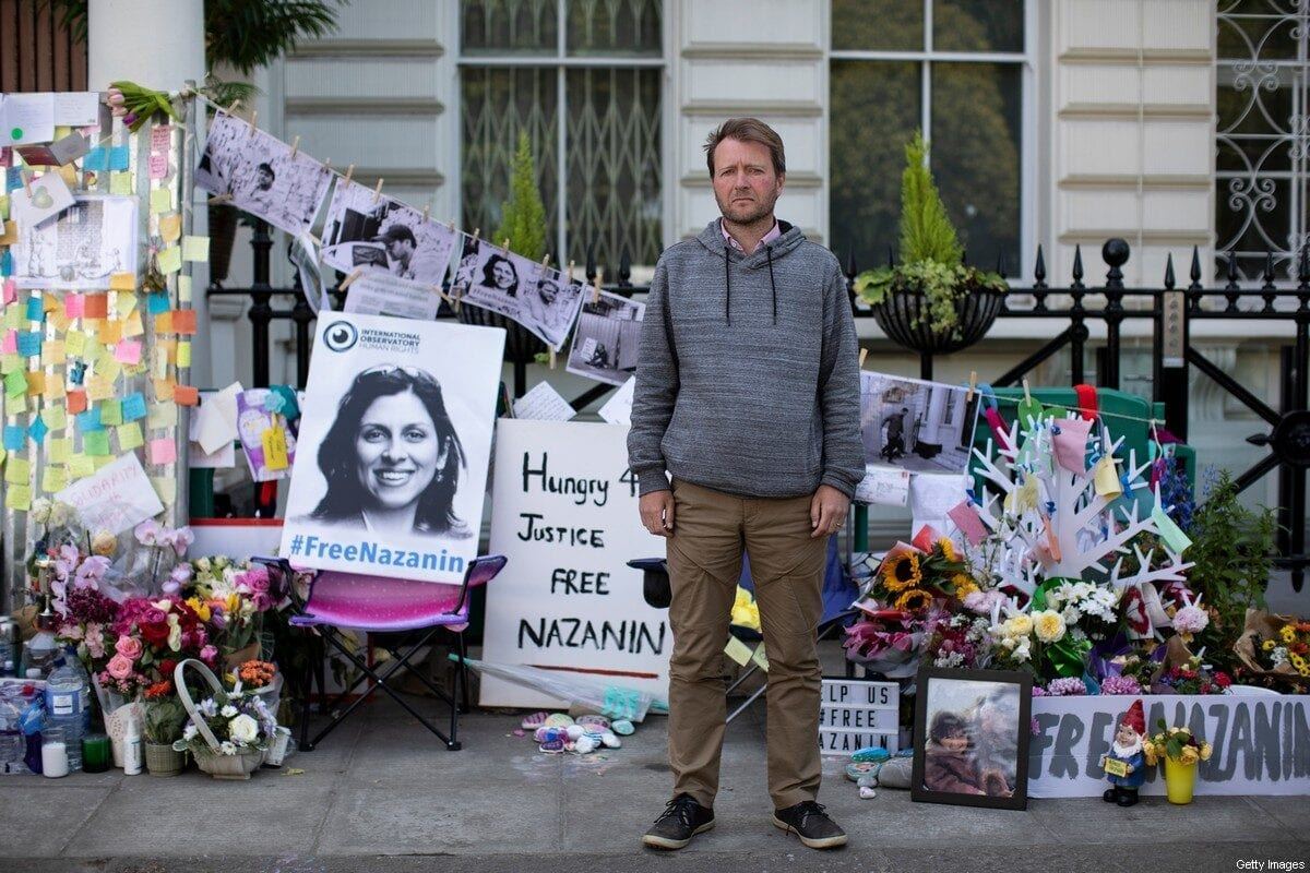 The husband of Nazanin Zaghari-Ratcliffe, Richard Ratcliffe, continues his hunger strike outside the Iranian Embassy on 28 June 2019 in London, England. [Dan Kitwood/Getty Images]