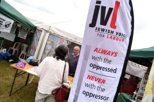 Jewish Voice for Labour stall at the Tolpuddle Martyrs Festival and Rally on July 21, 2019 in Tolpuddle, England [Finnbarr Webster/Getty Images]